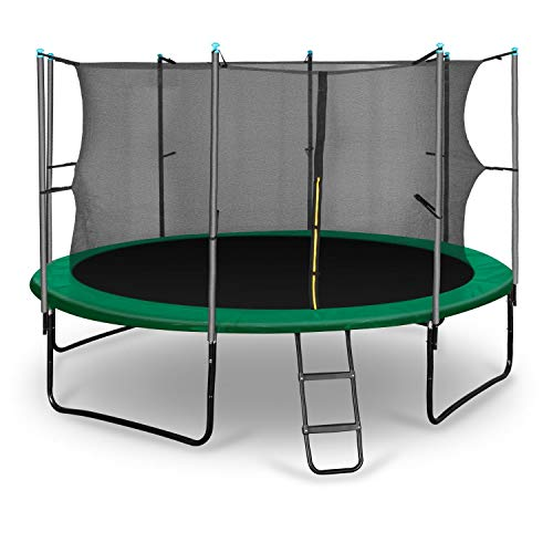 Klarfit Rocketstart 366 Cama elástica trampolin con Red de Seguridad (Superficie Base 366cm diametro, sujecion 4 Patas Doble, Varillas de sujecion Acolchadas, Lona Resistente a los Rayos UV, protecto