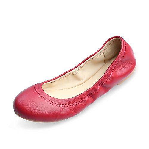 Chaste Ballett Flach Lammfell Loafers Casual Damen Schuhe Leder Geschlossene Ballerinas Red 9.5