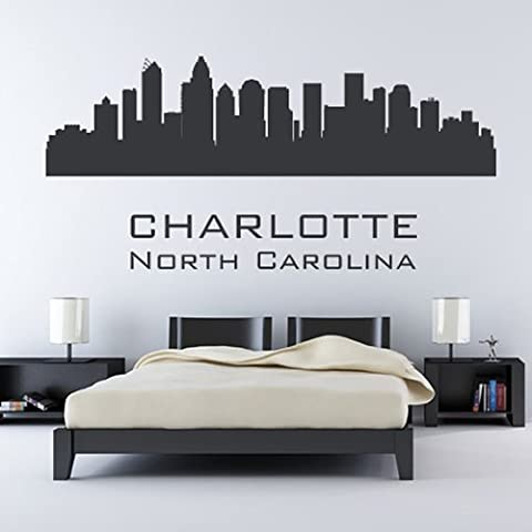 Charlotte North Carolina Skyline Wandsticker Wandtattoo Skyline Kunst verfügbar in 5 Größen und 25 Farben Groß Basaltgrau
