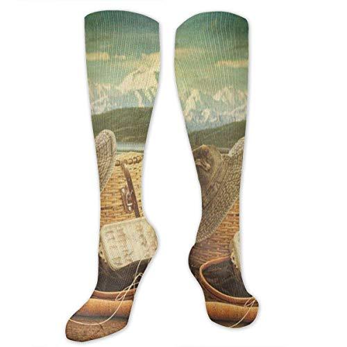 Western Boot Socken (HVCMNVB Personalized Unisex Cute Sock Retro Western Cowboy Boots Elastic Comfortabl High Socks Length Socks One Size High Socks for Girls)