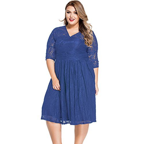 meinice pizzo V collo Curvy Skater Dress, Blu, (Zebra Blu Trim)