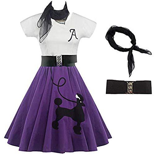 Holywin Frauen DressLily Pudel Print Skater Vintage Rockabilly Swing Tee Cocktailkleid - Dot Kleid Pudel