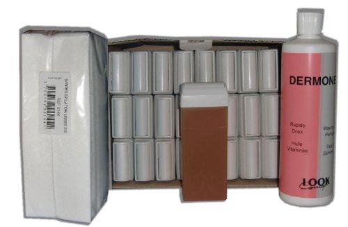 Storepil - Réassort de cire à épiler 24 recharges + 250 bandes + huile - MIEL