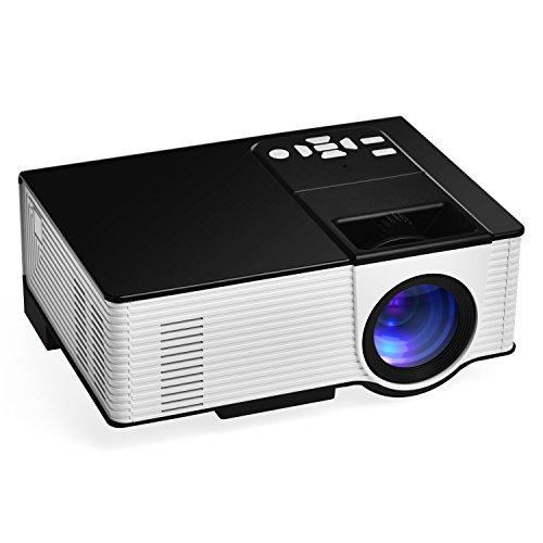 1600 Lumens Beamer, VIGOREA Mini LED Heimkino Beamer Keine Strahlung Kinder Video Projektor mit Farb Verbesserungs Technologie Unterstützung 1080P, mit kostenlosem AV und HDMI Kabel, 2 Jahre Garantie