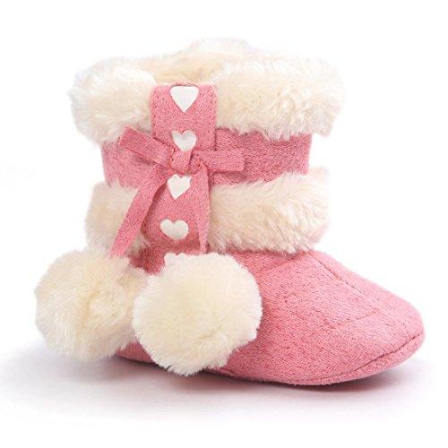 Bluestercool Baby-Soft-Sohlen Kleinkind Winterstiefel (12, Khaki) Rot