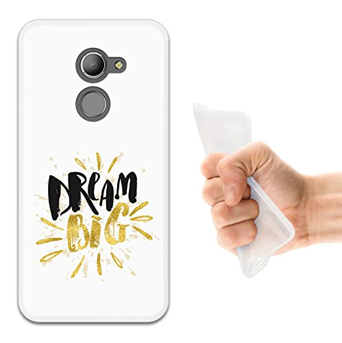 WoowCase Vodafone Smart N8 Hülle, Handyhülle Silikon für [ Vodafone Smart N8 ] Dream Big Work Hard Handytasche Handy Cover Case Schutzhülle Flexible TPU - Transparent