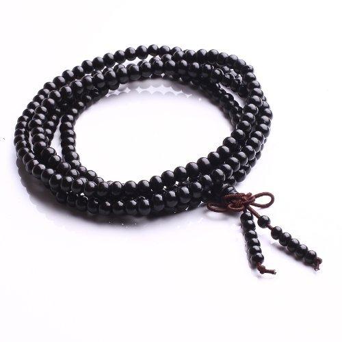 Qiyun 6mm 216 Noir Santal priere Mala Rosaire le bracelet de perle de collier extensible