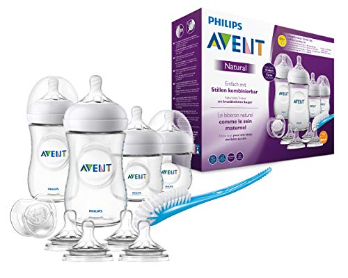 Philips Avent Natural Flaschenset SCD301/02 für Neugeborene (125 und 260 ml, 4 zusätzliche Sauger 6m+) 0m+, transparent, 4 Flaschen