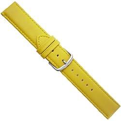 """Uhrbanddealer 22mm Ersatzband Uhrenarmband """"Fashion"""" Kalb Leder Band Gelb 311522s"""