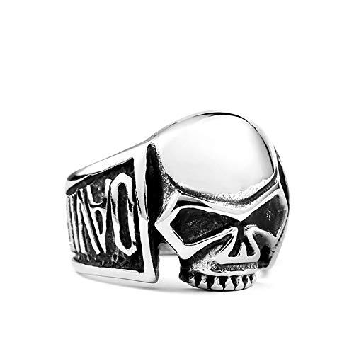 KnBoB Edelstahl Herren Ring Totenkopf Schädel Silber Partnerring Gothic Ring Schwarz Größe 67 (21.3)