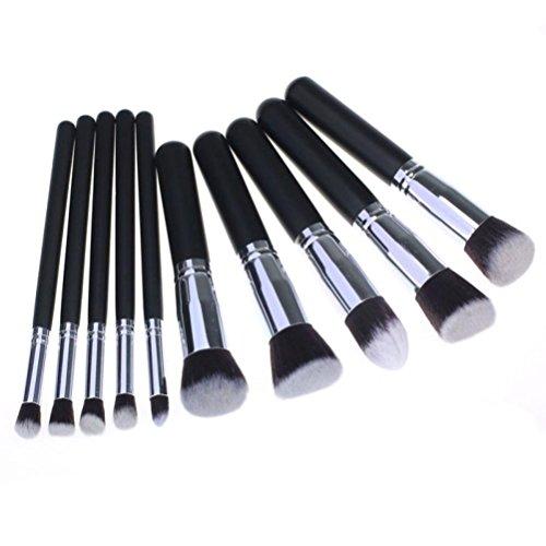 Fulltime®10 PCS / 1 Set de maquillage cosmétiques Pinceaux Set Foundation Powder Eyeshadow Brush