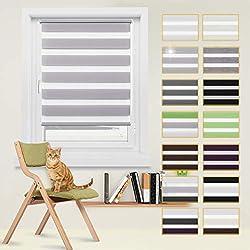 Doppelrollo, Raffrollo ohne Bohren, Doppelrollo Klemmfix, lichtdurchlässig und verdunkelnd Wandmontage Sichtschutz Rollo für Fenster und Tür Grau, 80 x 150 cm