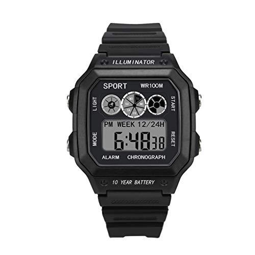 Digital Sport Uhren für Herren, Skxinn Unisex-Stoppuhr 30M Wasserdicht multifunktionale Mode Sport LED Armbanduhren Ausverkauf(Schwarz,One Size)