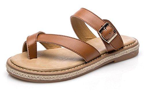 sandales d'été et des pantoufles étudiants rétro sauvages chaussures plates femmes Yellow