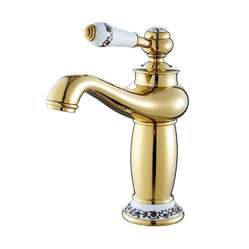 MEIBATH Badezimmer Waschbecken Mischbatterien Waschbecken Wasserhahn Einzigen Griff Toilette Messing Poliert Golden Wasserhahn Badarmatur Waschtischarmaturen