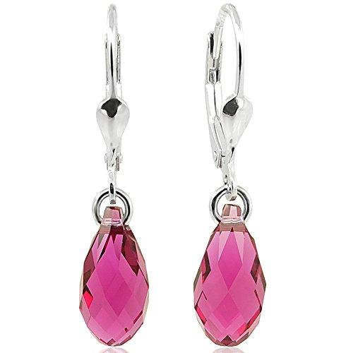Ohrringe Tropfen mit Swarovski Kristallen 925 Sterling Silber Pink NOBEL SCHMUCK