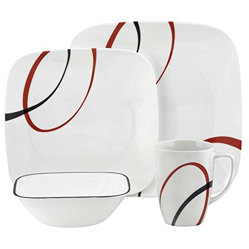 Corelle Geschirr-Set Fine Lines aus Vitrelle-Glas für 4 Personen 16-teilig, splitter- und bruchfest, - Geschirr-set Rot Square