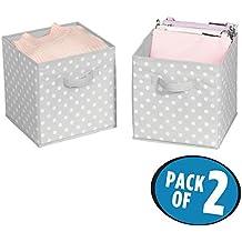 mDesign Set da 2 capienti ceste portagiochi – Pratiche scatole per armadi versatili e salvaspazio – grigio/bianco