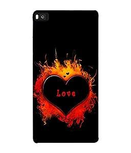 PrintVisa Designer Back Case Cover for Huawei P8 (firey glossy love dark heart)