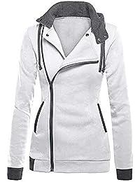 Javpoo Womens Oblique Zipper Slim Fit Hoodie Jacket Long Sleeve Blouse Coat Sweatshirt