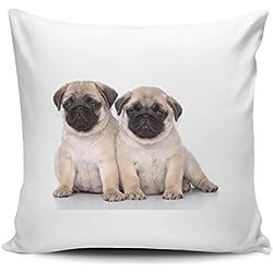 Funda de cojín/Funda de almohada de satén 40 x 40 cm - Diseño: CARLINO de dos cachorros de lado | 018