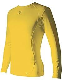 Precision Base-Layer - Camiseta de Manga Larga con Cuello Redondo, Color Amarillo