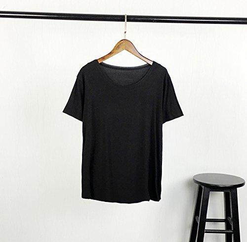 Xmy Eine weiche einfache Stiftung, lösen Sie den dünnen Hals Kurzarm-T-Shirt Frauen im Sommer in den Niederlanden sind Code, Schwarz - Stiftung Schwarzes T-shirt