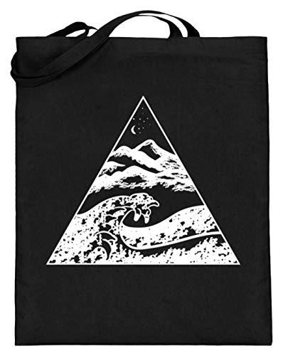 generisch Die Welle vor Kanagawa - Kunst Cooles Shirt Malerei Bild Tsunami Japan Kunst Geographie - Jutebeutel (mit langen Henkeln) -38cm-42cm-Schwarz