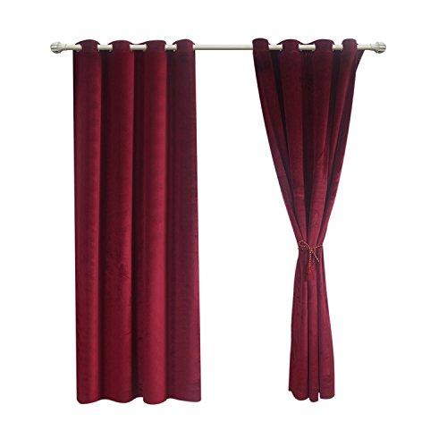 Vorhang Panel zuodu massiv Tülle matt schwere Samt Vorhang Tuch Panel Blackout Super Weich in theater| bedroom| Living room| Hotel 1Stück, weinrot, 46