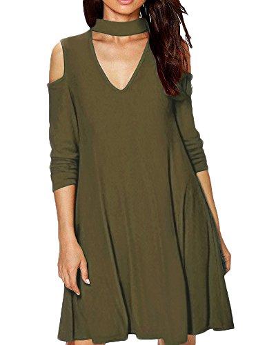 Femmes manches longues occasionnels Halter bretelles en V robe sans manches Vert
