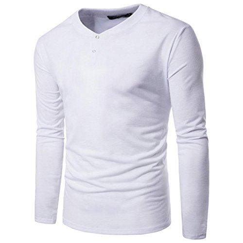Männer Hemden VENMO Mens Casual Langarmshirt Geschäft Top Slim Fit Shirt Feste Bluse (S, White) (Polo Waschen Pique)