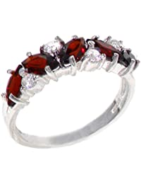 Luxus Damen Ring Solide 14 Karat (585) Weißgold mit Granat und Diamant - Verfügbare Größen : 47 bis 68