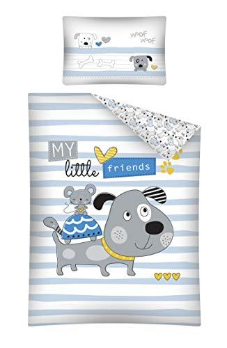 Baby Bettwäsche Set 2tlg. 100% Baumwolle Größe: 100x135 cm, 40x60 cm, ÖkoTex Standard 100 (Little Friends Blau)