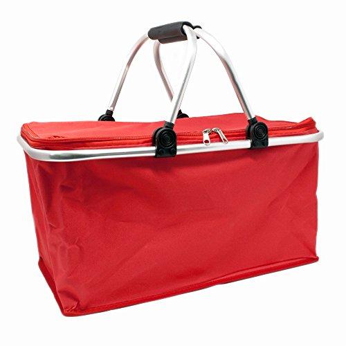 ToCi Einkaufskorb faltbarer Shopper | Klappkorb Alu Tragekorb Einkaufstasche | Fassungsvermögen: 26 Liter | Farbe: Rot