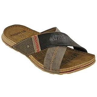 INBLU Slides Sandals Leather Mens Beach Flats Slip On GG007. (UK 12 / EU 46, Dark Brown)