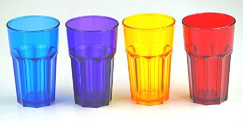 Longdrinkgläser Trinkgläser 4er-Set aus hochwertigen Polycarbonat 400ml. für Camping Freizeit Party ORANGE-ROT-BLAU-VIOLET