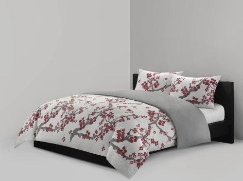 N Natori Cherry Blossom Mini Bettbezug-Set, Full/Queen, farbenreiche (Queen-mini-duvet-set)