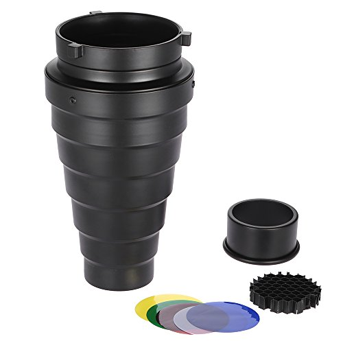 Docooler Metall-Spotvorsatz mit Wabe 5pcs Farbfilter Kit für Bowens Berg Studio Strobe Monolight Fotografie Blitz Monolight Studio Kit