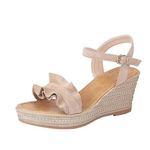 Scarpe moda da donna,hot sale║sonnena tacco a zeppa da donna con sandali con plateau in pizzo sandali con cinturino alla caviglia con fibbia in punta e fibbia a punta scarpe da donna