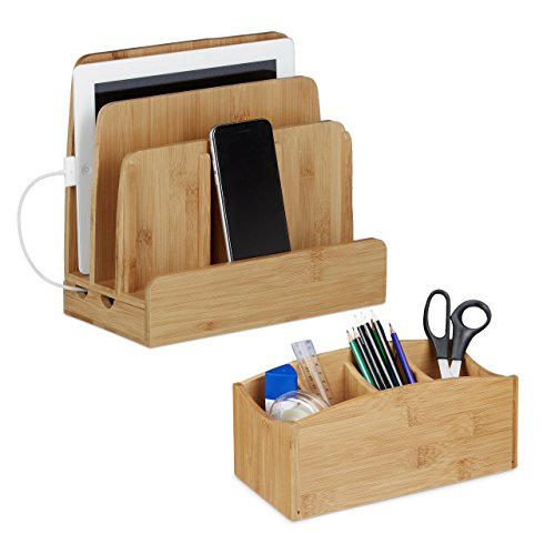 2 teiliges Büro Set, Schreibtischorganizer mit 4 Fächern, universal Ladestation für mehrere Geräte, Bambus, natur
