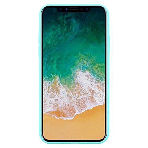 iPhone X Hülle | JAMMYLIZARD Ultra Slim Skin Case 0.8mm [Jelly Cover] Schutzhülle aus TPU-Silikon für Apple iPhone X Edition (2017), Matt Dunkelblau TÜRKIS