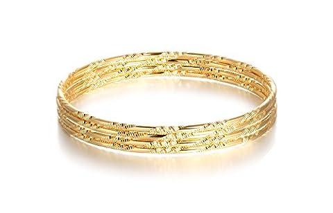 OPK Jewellery 18K Gold Armreifen Set indischen Stil Thin Stapelbar Armreif Armband für Frauen (Set von 4)