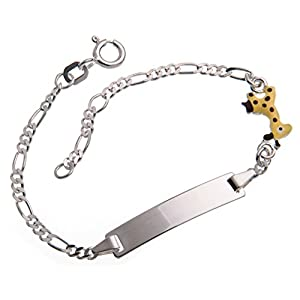 Baby Gravurarmband, ID Armband mit Giraffe inklusive Gravur (beidseitig) – massiv 925 Silber, Länge wählbar 10,5-15,5cm