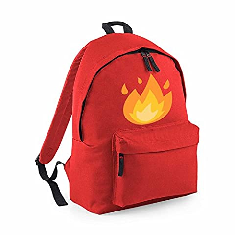 Apparel Printing Emoji Fire Fashion Backpack, Bright Red