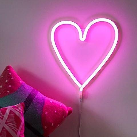 Neon Rose Lumiere - USB &À Piles ROSE Cœur AMOUR LED