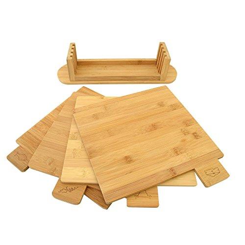 Top Home Solutions 5 Teile Symbol Codierten Bambus Schneidebrett Set mit Ständer - 3