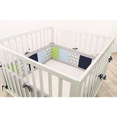 ULLENBOOM® Bumper- Blue Green Elephants (400x 30cm Baby playpen Bumper, Full Surround Bumper Pads for 100x 100cm playpen)
