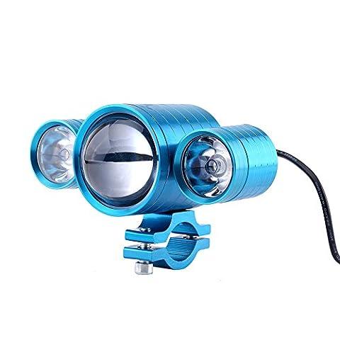Qiilu Motocyclette Motocross LED Headlight Diable Eyes Lights Projecteur Etanche Lampe Antibrouillard[Bleu]