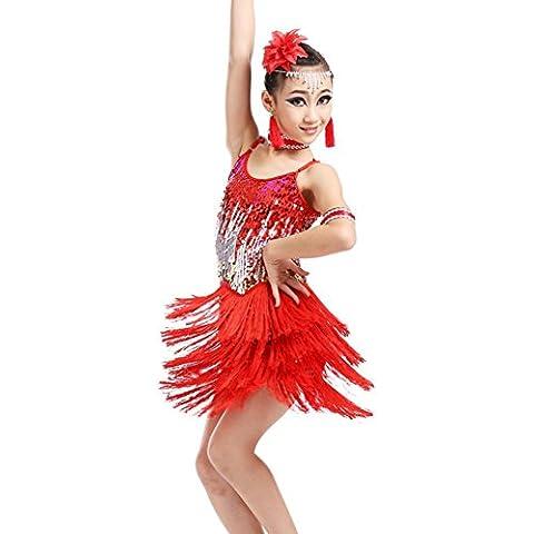 Paillettes ragazze ballo latino concorrenza Abito con frange . red