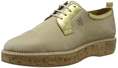 Marc O'Polo Damen 70113843401200 Lace Up Oxford, Mehrfarbig (Sand/Gold), 39 EU Lace-up Oxford Schuhe